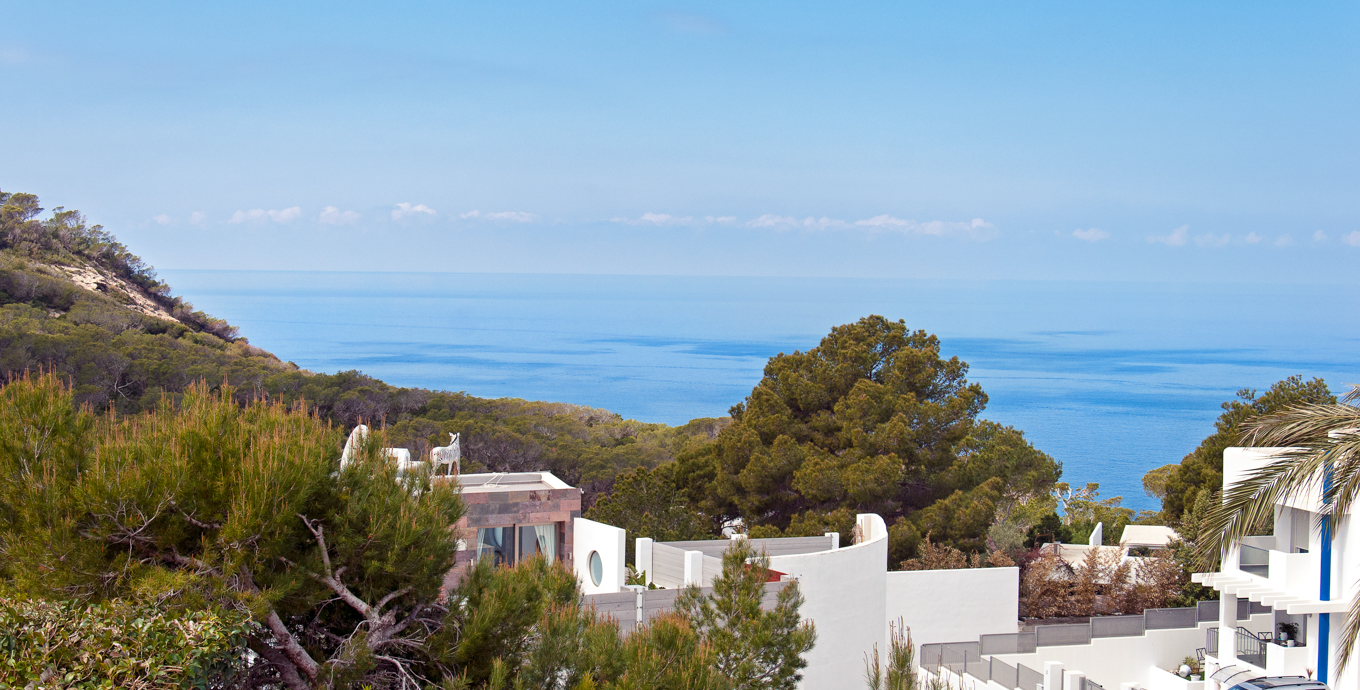 House overlooking the sea and sunset in Ibiza Cala Vadella