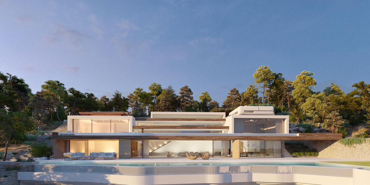 Spectacular new villa with sea view in the first line