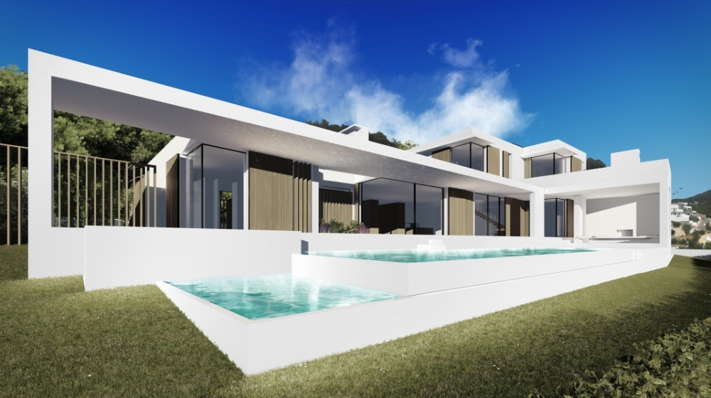 Project for a modern new villa in Ibiza with sea view in Can Furnet