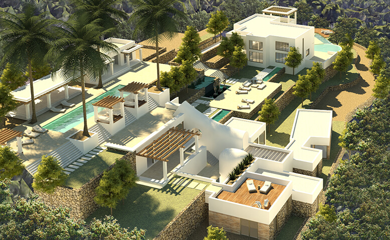 Large luxury house in two separate buildings and a pool house in Ibiza Santa Eulalia