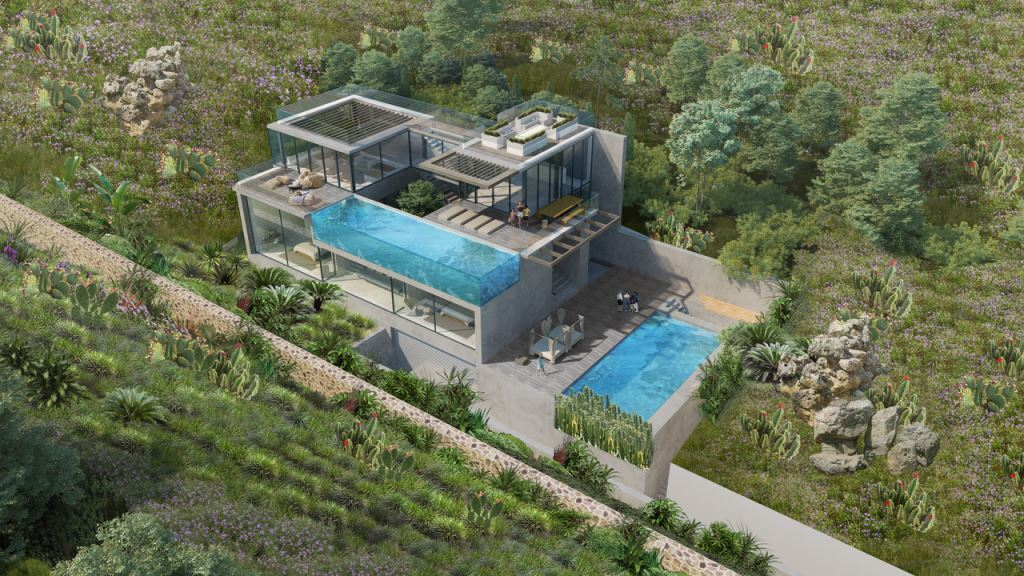 Plot near Cala Tarida with licence to build an ultra-modern villa with 2 pools and breathtaking views