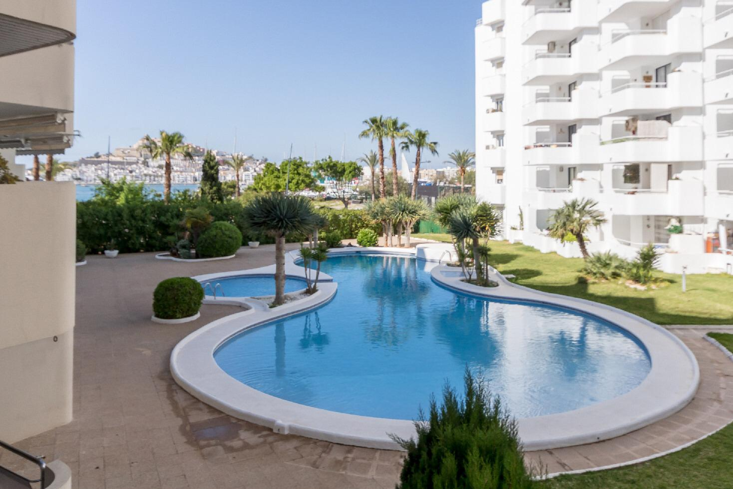 Nice apartment for sale in Marina Botafoch on Ibiza with large pool and nice views