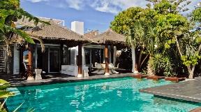 Beautiful city villa in Balinese style near Ibiza town with sea views