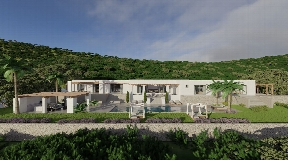 Unique project nestled on a hill overlooking the valley, close to St. Gertrudis