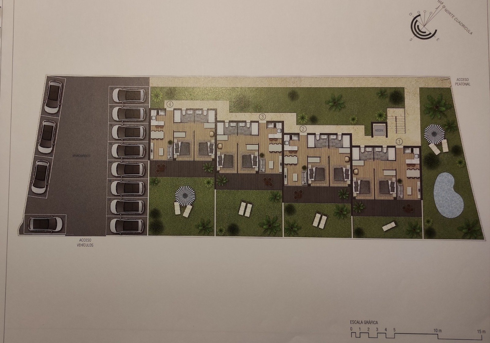 Land with project of 12 apartments of 60 m2 each with a total of 703 m2 frontline