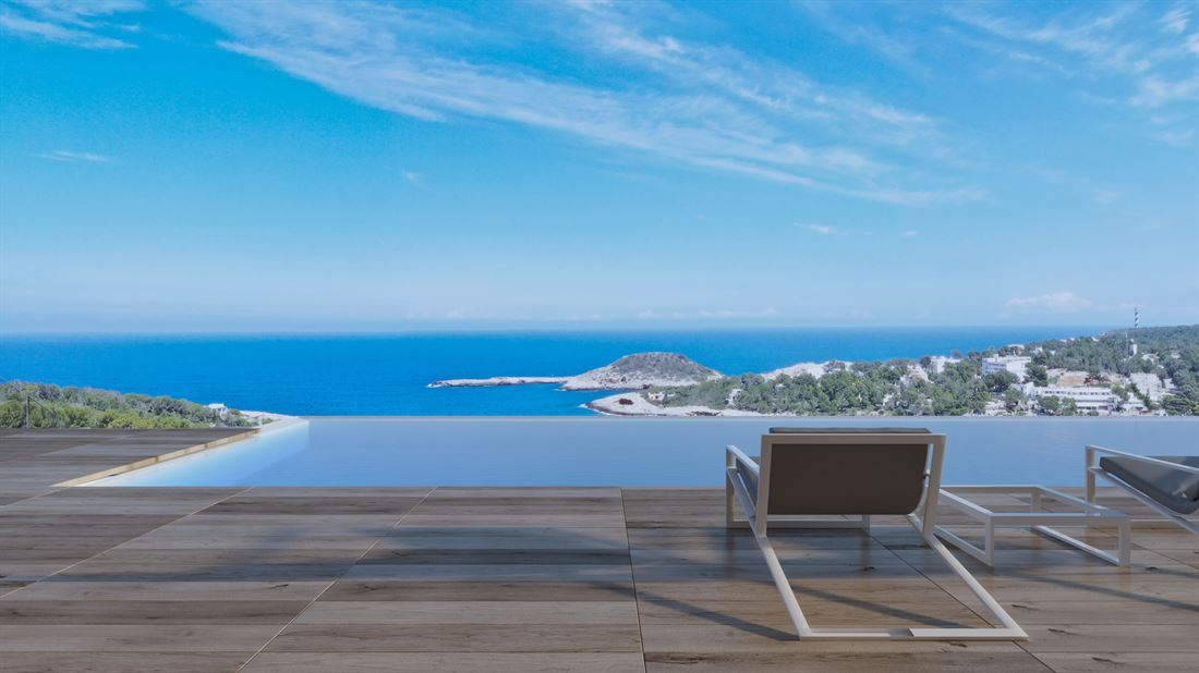 Modern built villa from plan for sale with an absolute top view in Portinatx
